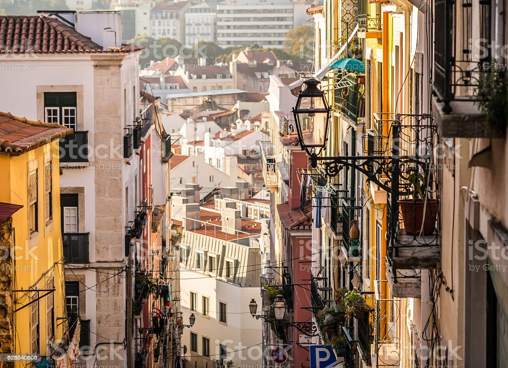 Architecture in the Old Town of Lisbon, Portugal. - fotografia de stock