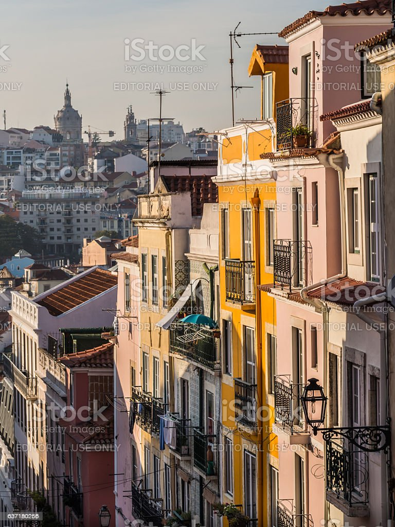 Architecture in the Old Town of Lisbon, Portugal. stock photo
