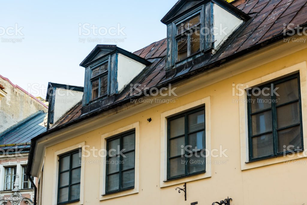 Architecture in the Old Town of Riga. Riga's historical centre is a UNESCO World Heritage Site stock photo