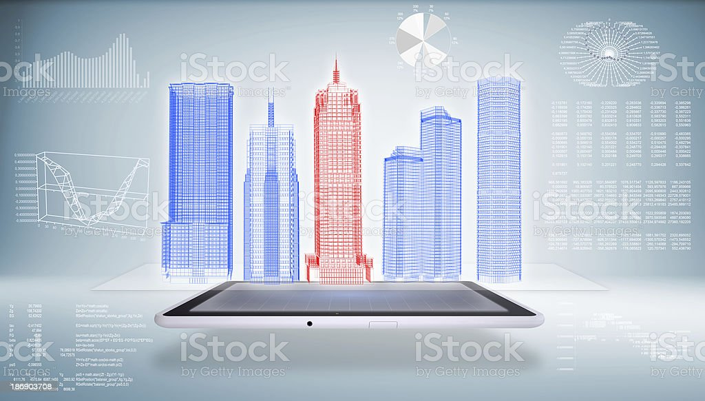 Architecture in the Tablet PC stock photo