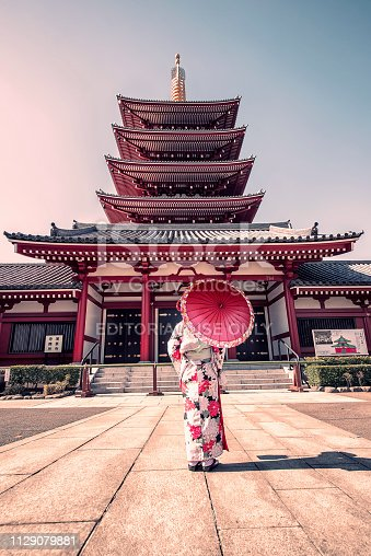 woman with traditional dress in Senso-ji temple in Asakusa, Tokyo
