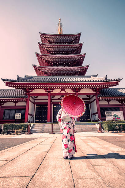 Architecture in Tokyo woman with traditional dress in Senso-ji temple in Asakusa, Tokyo tokyo stock pictures, royalty-free photos & images