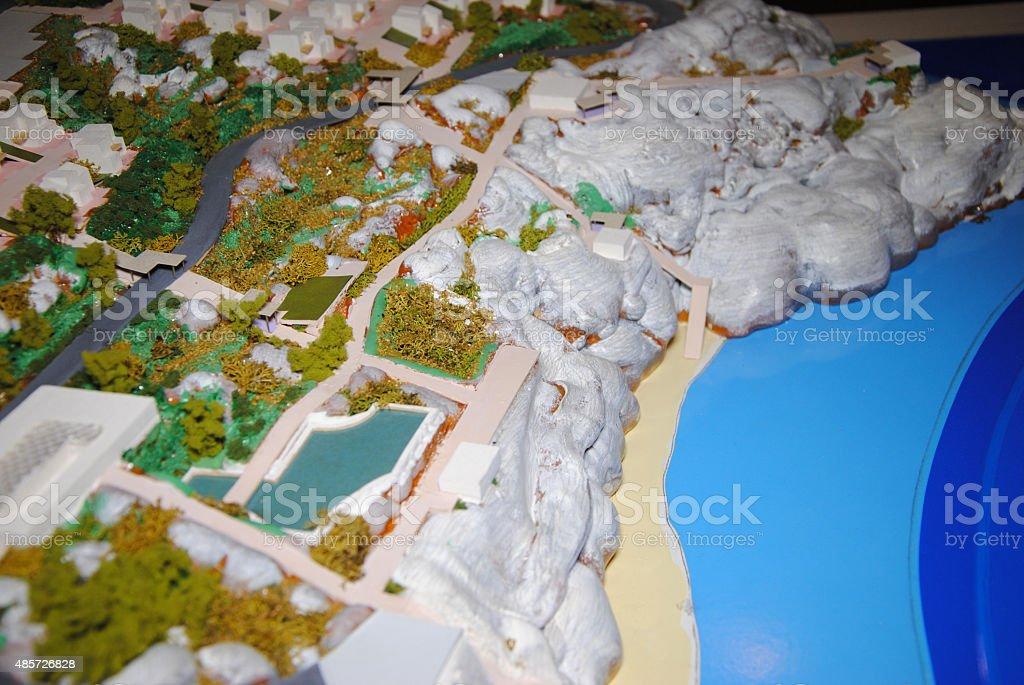 architecture maquette with sea stock photo
