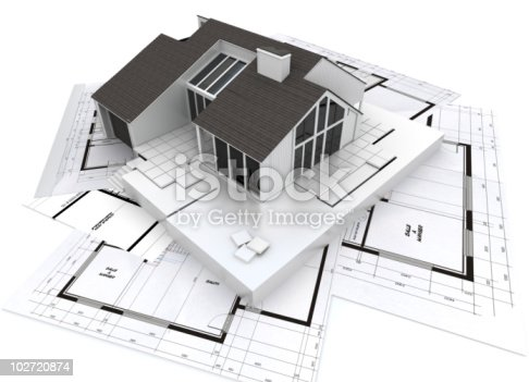 istock Architecture model and plans 102720874
