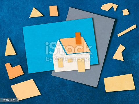 istock Architecture model paper cutting style 825769212