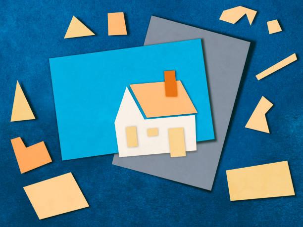 architektur modell papier schneiden - kindergarten workshop stock-fotos und bilder