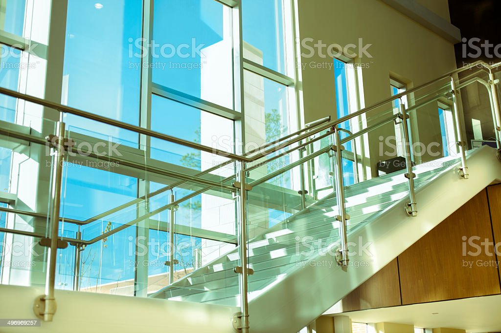 Architecture: Modern Glass, Aluminum Staircase In Office Building Or  College. Royalty Free