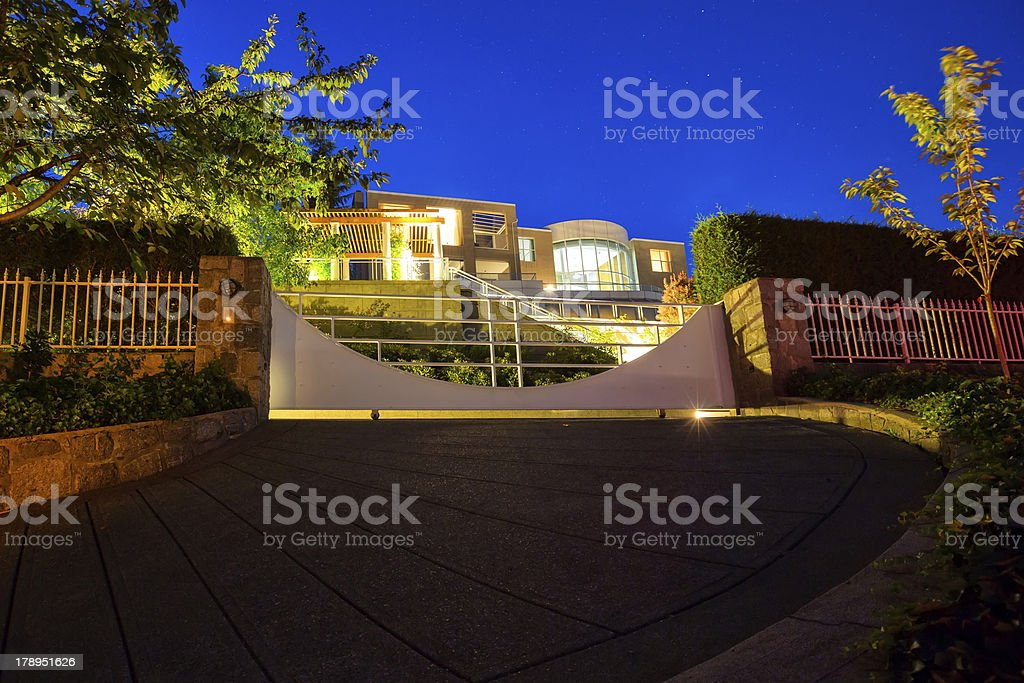 Architecture: Modern luxury estate home exterior in West Vancouver royalty-free stock photo