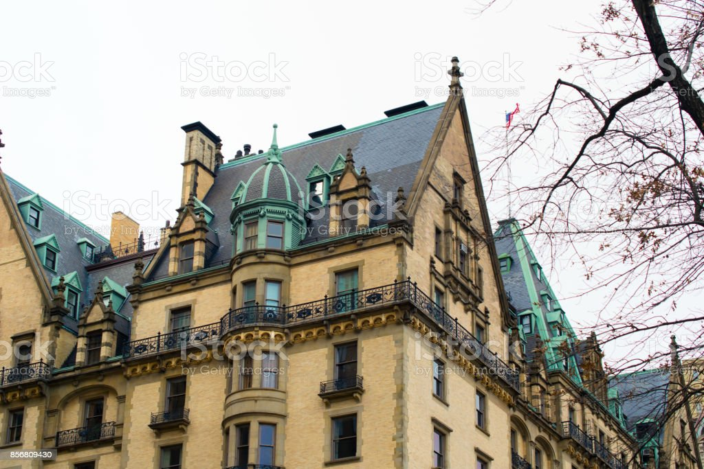 Architecture near the central park, Dakota building, New York. stock photo