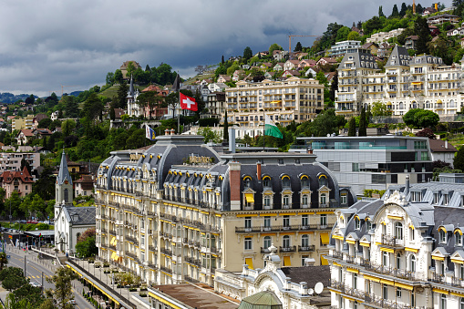 Architecture of a famous and luxury hotel in Montreux, Switzerland
