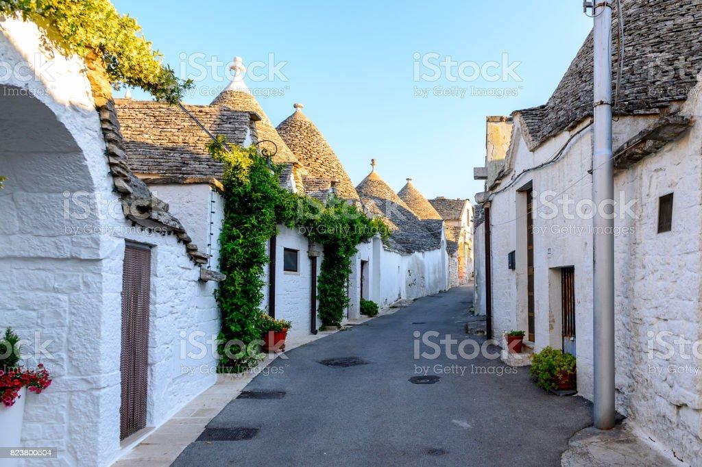 Architecture of Alberobello, a small town in Apulia, Italy. Famous for its unique trulli buildings. stock photo