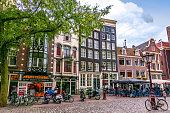 Architecture of Amsterdam near Old Church (Oudekerk), Netherlands