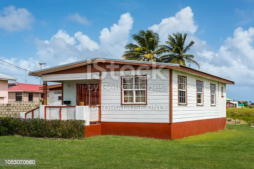 Apple Hall, Barbados - December 18, 2016: A typical local residence in Apple Hall, Saint Philip, Barbados Island, West Indies, Caribbean, Central America.