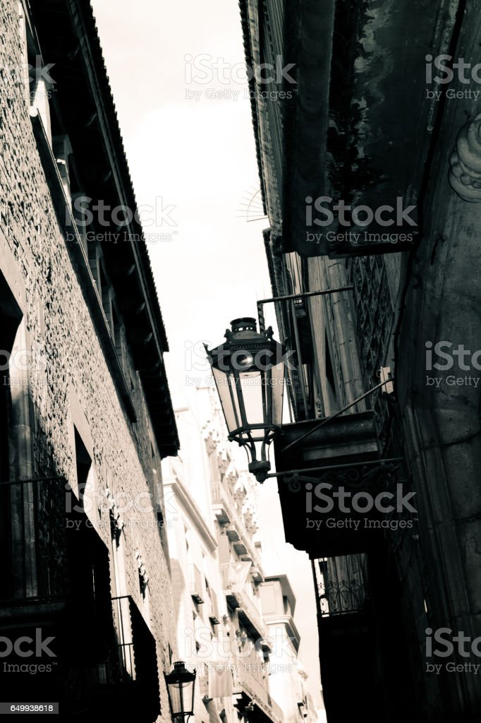 Architecture of Barcelona, Gothic quarter. stock photo