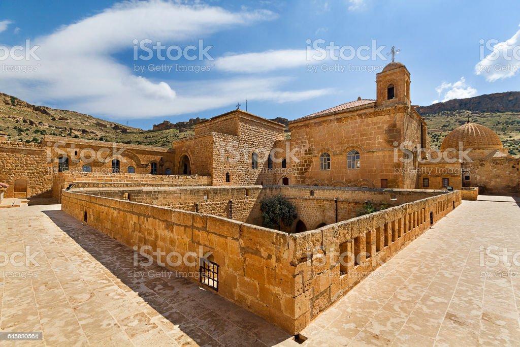 Architecture of Deyrulzafaran Monastery, Mardin, Turkey stock photo