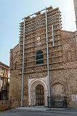 Architecture of Italy, Marche: Structural support frame for earthquake damaged building in San Ginesio