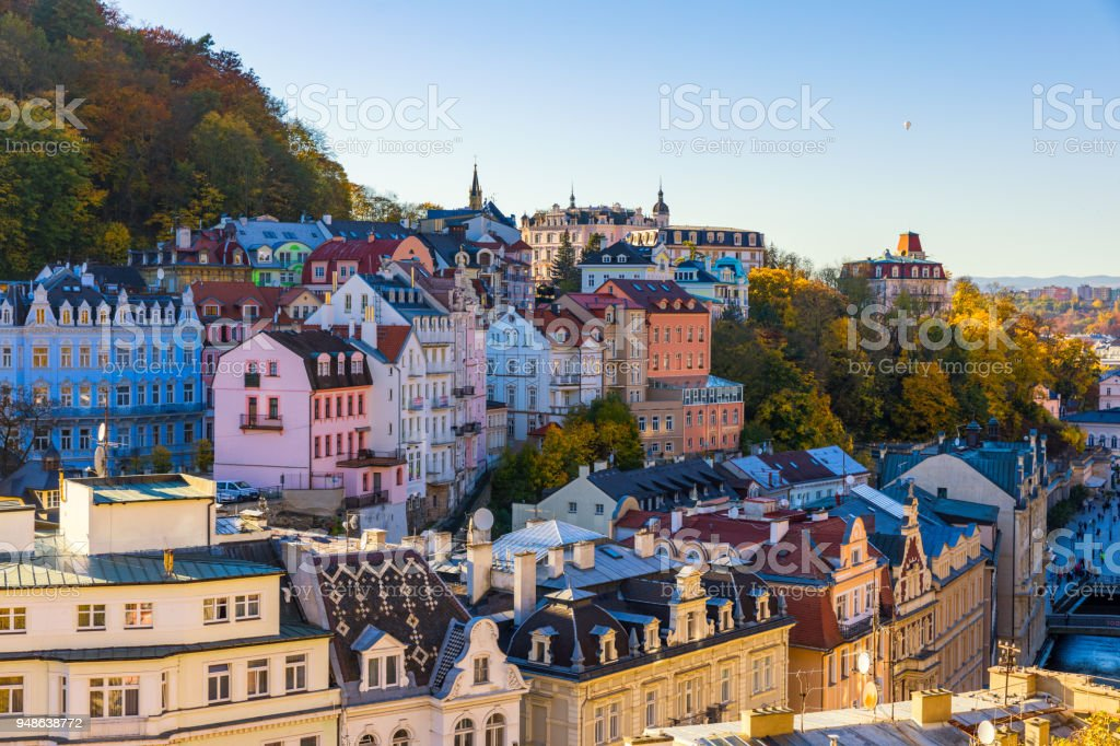 Architecture of Karlovy Vary (Karlsbad) in autumn, Czech Republic. It is the most visited spa town in the Czech Republic stock photo