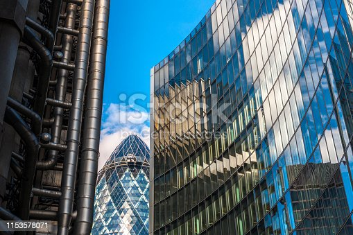 low angle view on the office building of Lloyds of London, City of London UK
