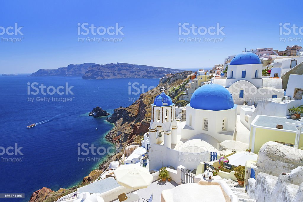 Architecture of Oia town on Santorini stock photo