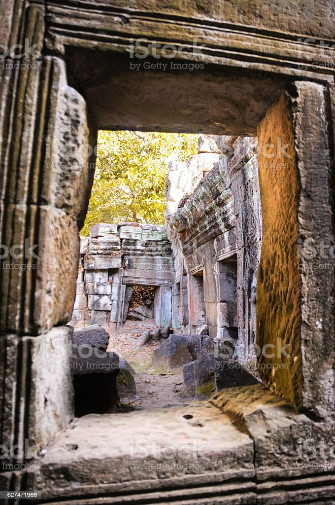 Architecture of old buddhist in Angkor, Siem Reap. stock photo