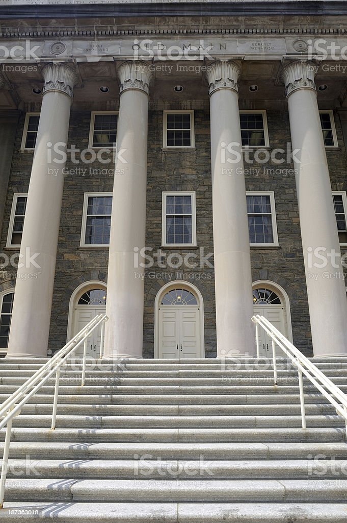 Architecture of Old Main in Penn State stock photo