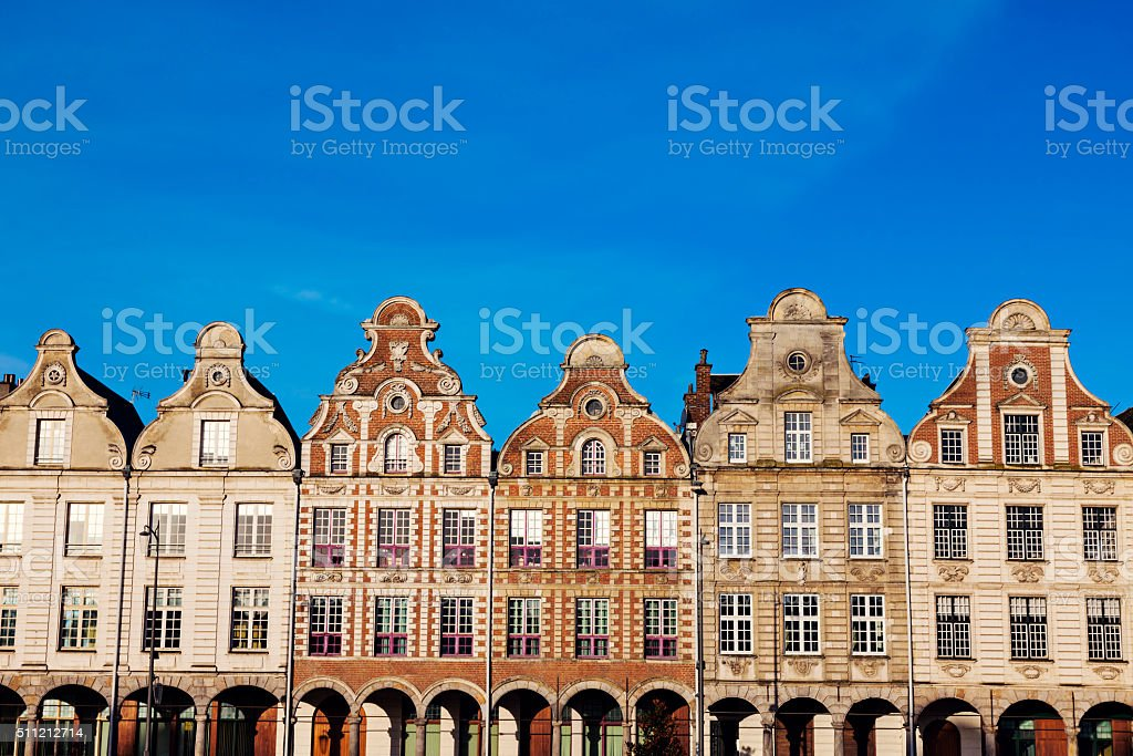 Architecture of Place des Heros in Arras stock photo