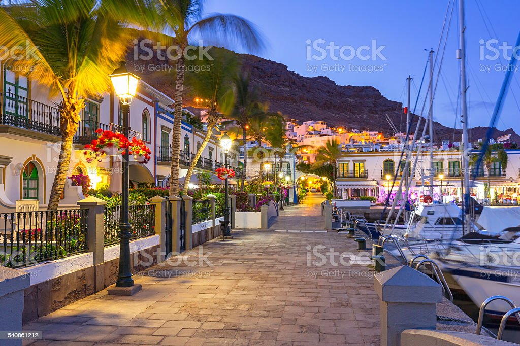 Architecture of Puerto de Mogan at night, Gran Canaria stock photo