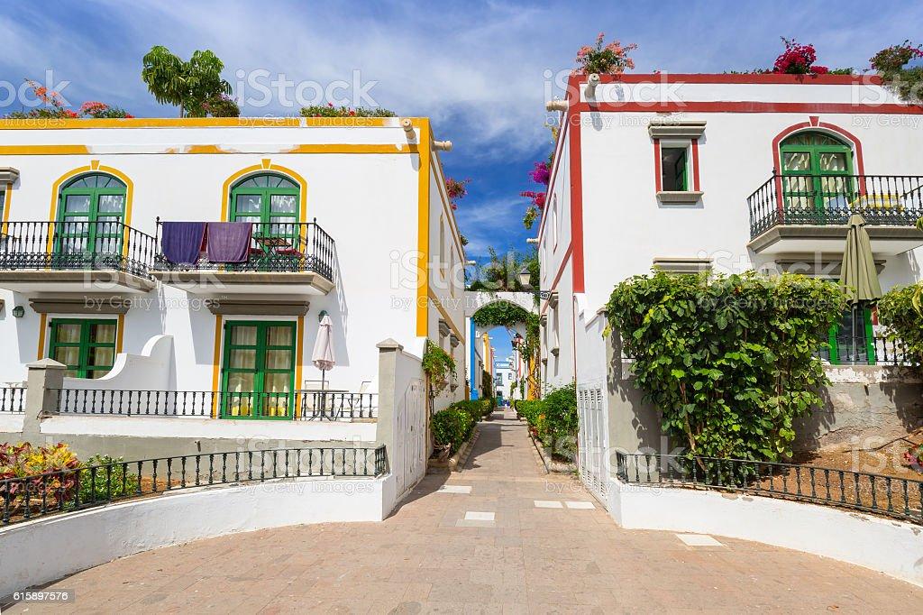 Architecture of Puerto de Mogan, Gran Canaria stock photo