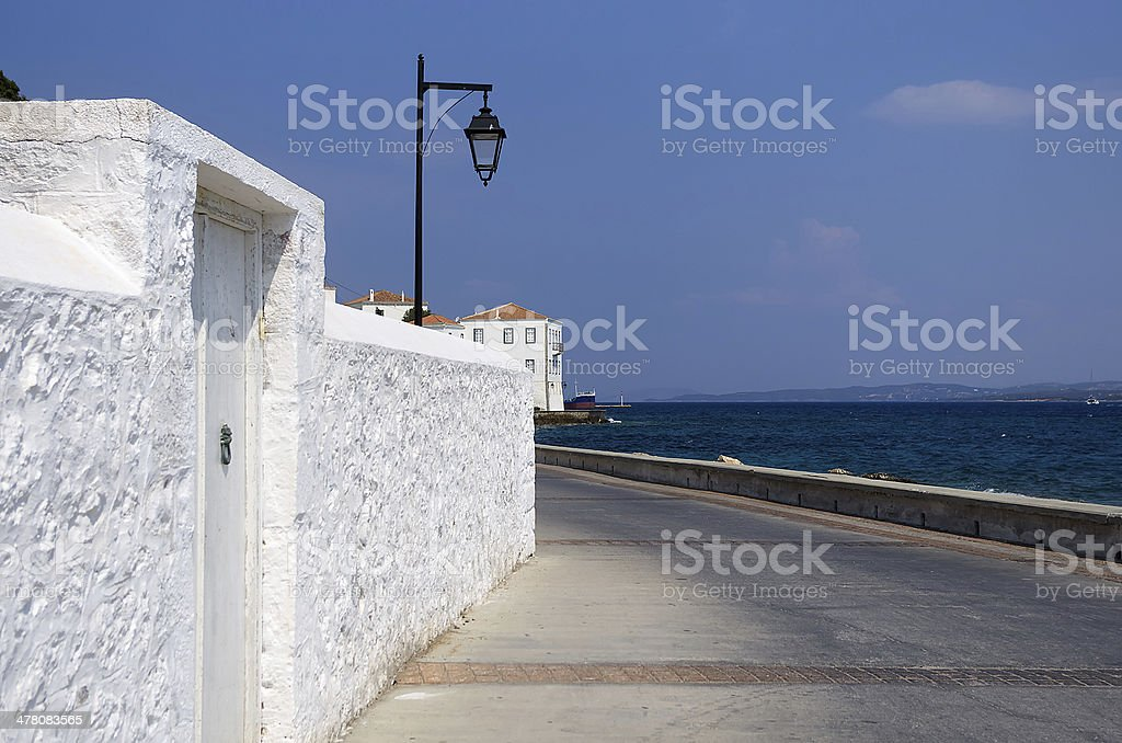 Architecture of Spetses island, Greece royalty-free stock photo
