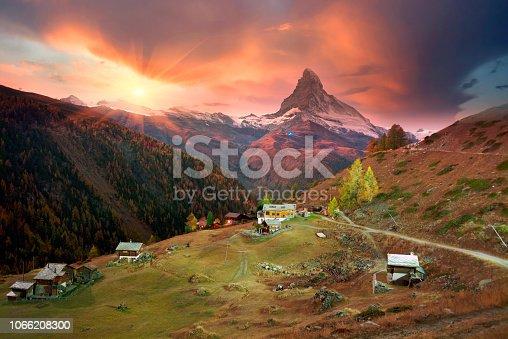 istock Architecture of Switzerland near Matterhorn 1066208300