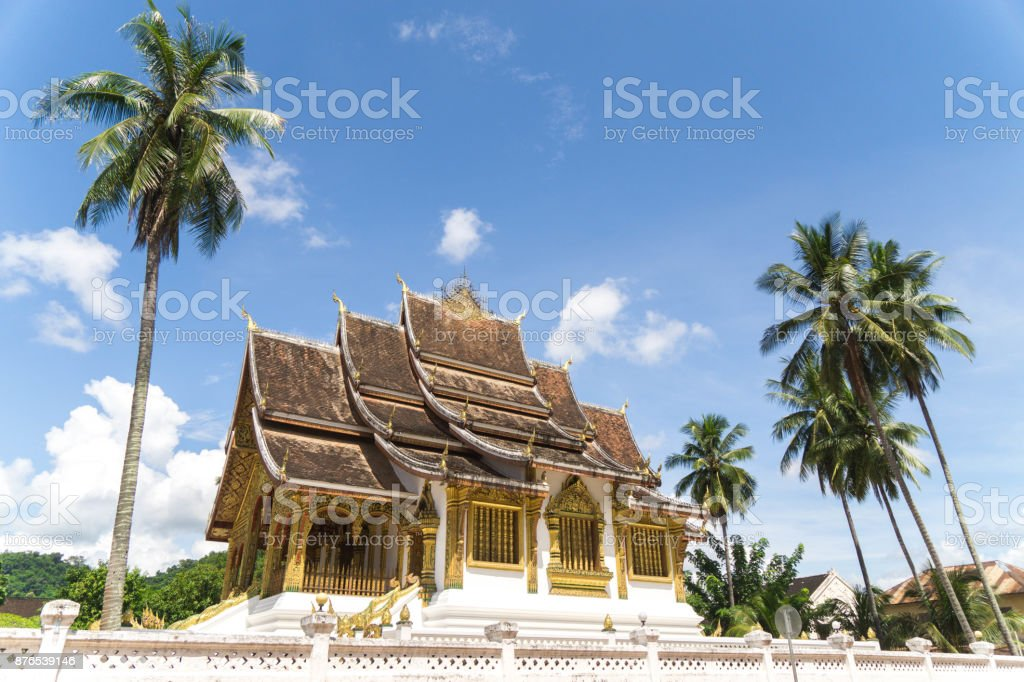 architecture of the ancient palace at Luang Prabang with blue sky sunny day stock photo