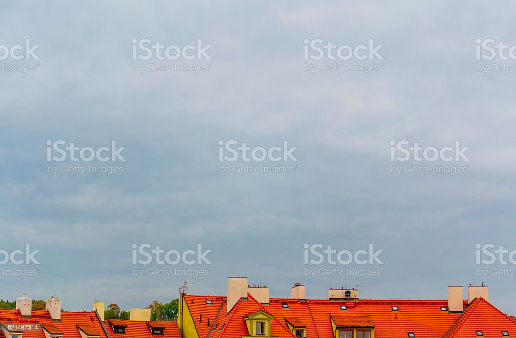 Architecture of the Czech Republic. Prague. Houses with red roofs. foto stock royalty-free