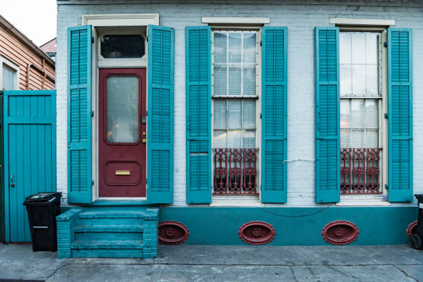 Architecture of the French Quarter in New Orleans stock photo