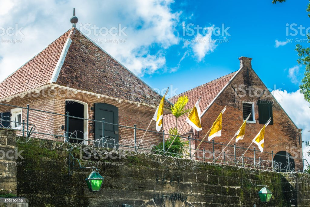 Architecture of the historic city of Paramaribo, Suriname. The historic inner city of Paramaribo is a UNESCO World Heritage Site since 2002. stock photo