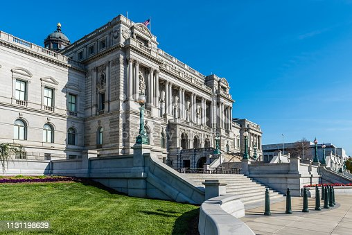The beautiful architecture of the Library of Congress in Washington D.C.