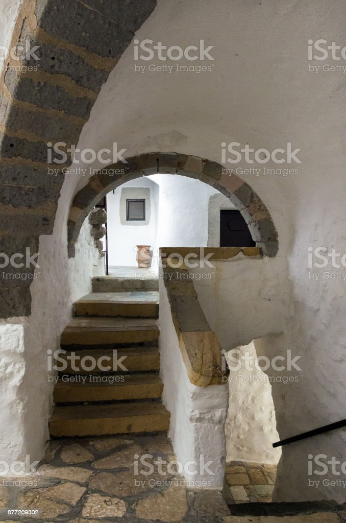 Architecture of the monastery of Saint John the Theologian in Patmos island, Dodecanese, Greece stock photo