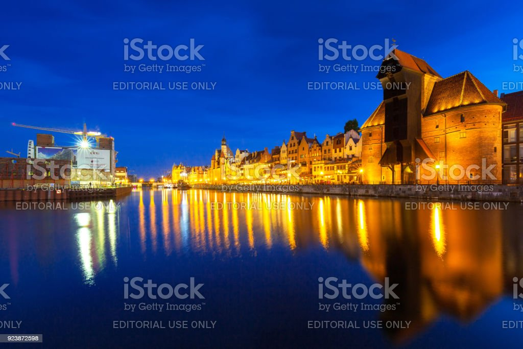 Architecture of the old town in Gdansk stock photo