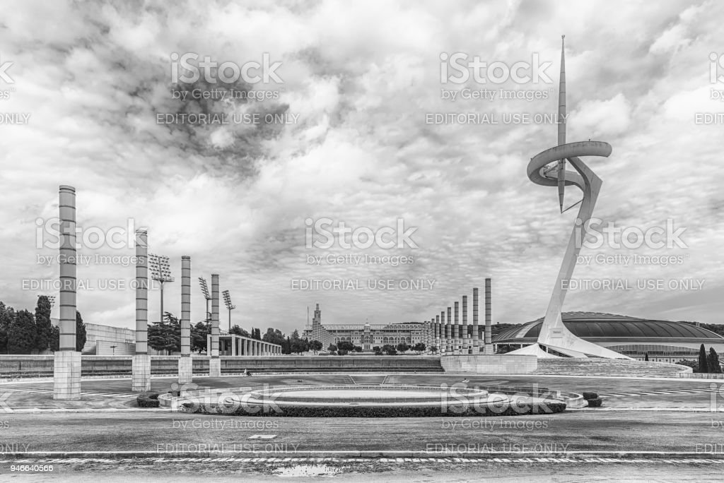 Architecture of the Olympic Park of Montjuic, Barcelona, Catalonia, Spain stock photo