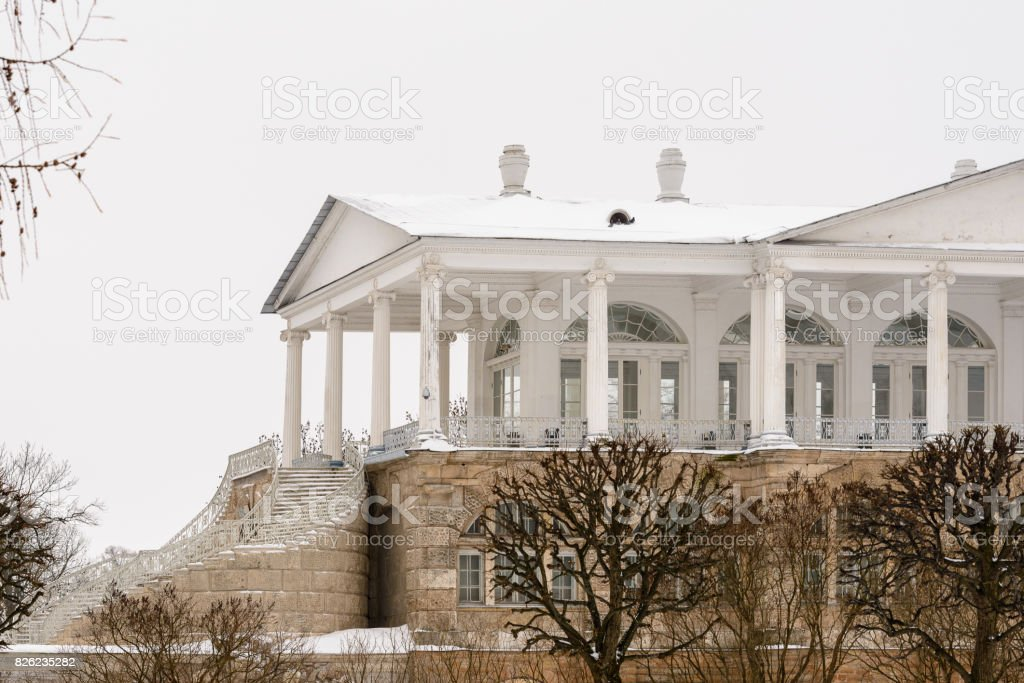 Architecture of Tsarskoye Selo (Pushkin), 25 km south-east of St. Petersburg, Russia. stock photo