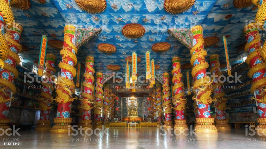 Architecture of Wat Elephant Chinese temple in  PatangbehsarSubdistrict, Sa Dao District, Songkhla province, Thailand stock photo