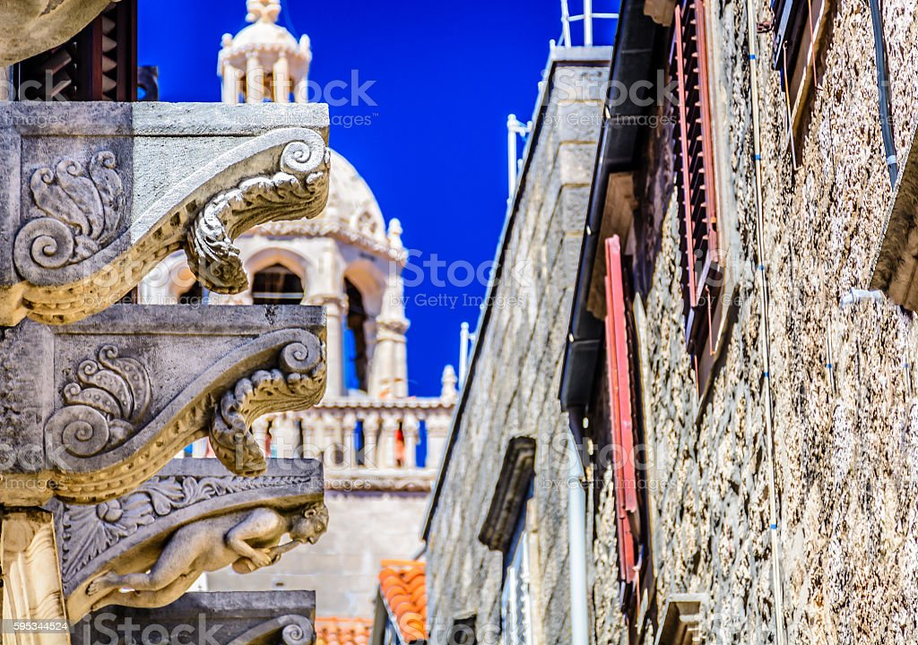 Architecture old town Korcula. stock photo