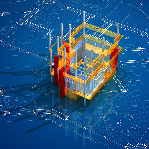 architecture on blueprint - wire frame model stock photos and pictures