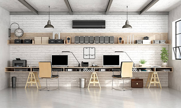 Architecture or engineering office in industrial style stock photo