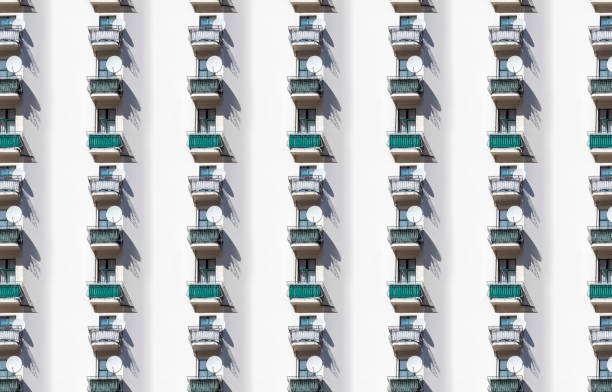 architecture pattern, balcony with satellite dish stock photo
