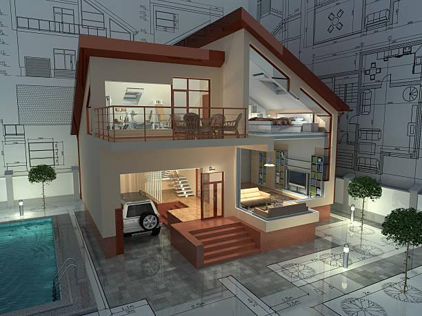 architektur. - fassadenschnitt stock-fotos und bilder