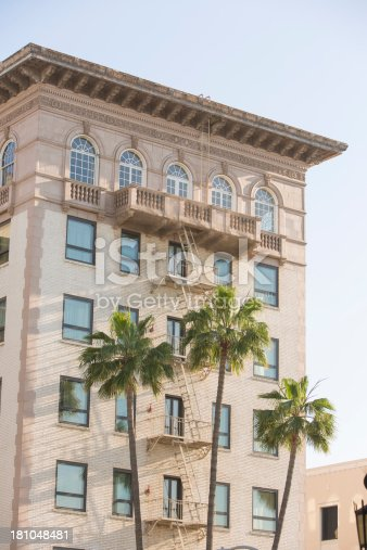 Palm trees and Los Angeles apartment building