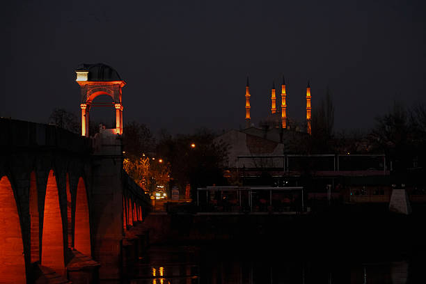 architecture night shot selimiye mosque night stock pictures, royalty-free photos & images