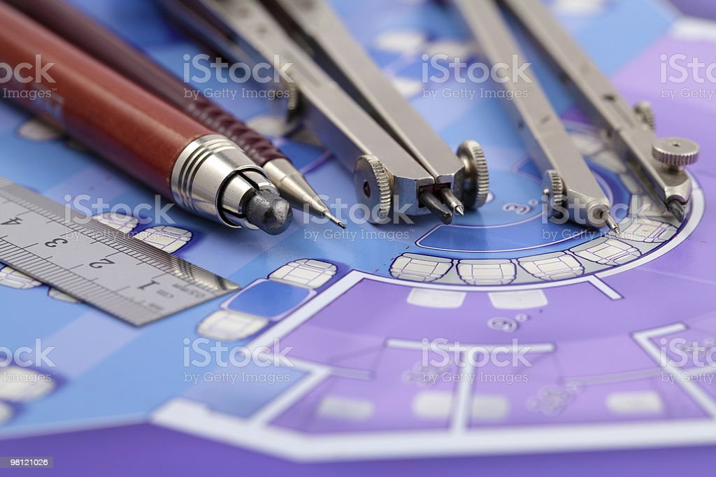 Architecture plan & tools royalty-free stock photo