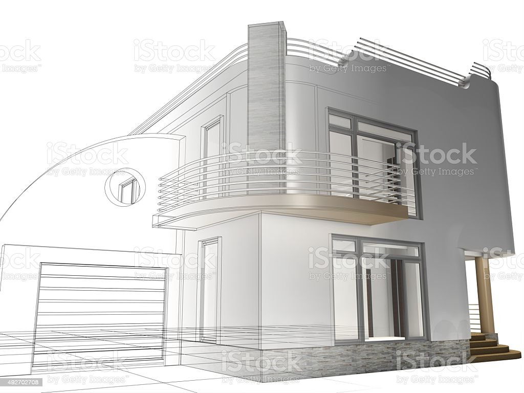 Architecture Project Abstract Wireframe Construction House Stock ...