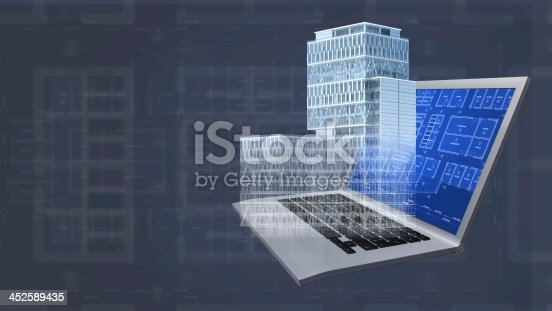 507211101 istock photo Architecture project blueprint background with 3D buildings model and computer 452589435